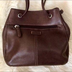 Fossil brown genuine leather mini bucket bag purse
